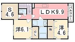 兵庫県たつの市御津町苅屋の賃貸アパートの間取り