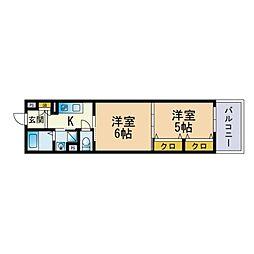 リファレンス箱崎 13階2Kの間取り