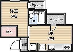 アメ二ティ新大阪2番館[1階]の間取り
