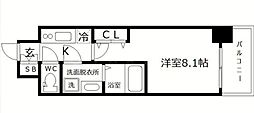 S-RESIDENCE阿波座WEST 15階1Kの間取り