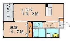 福岡県福岡市博多区博多駅南5の賃貸マンションの間取り