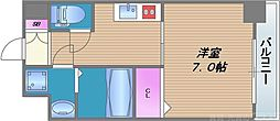 メビウス タマツクリ レジデンスII 6階1Kの間取り