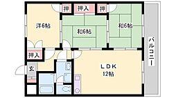 兵庫県加古川市尾上町旭3丁目の賃貸マンションの間取り