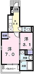 東京都羽村市緑ヶ丘3丁目の賃貸アパートの間取り