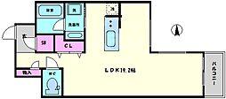 エーデルブルグ 7階ワンルームの間取り