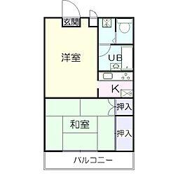 埼玉県越谷市東越谷5の賃貸アパートの間取り