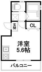京阪本線 伏見稲荷駅 徒歩1分の賃貸アパート 3階ワンルームの間取り