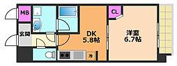カンナビーノ 4階1DKの間取り