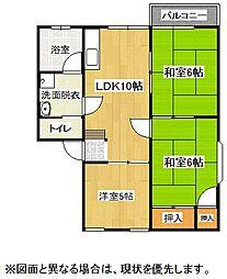 福岡県北九州市小倉南区葛原2丁目の賃貸アパートの間取り