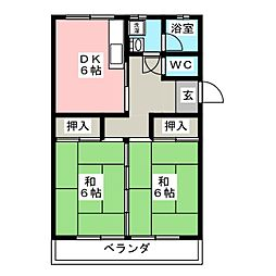 サンハイツシバ[1階]の間取り