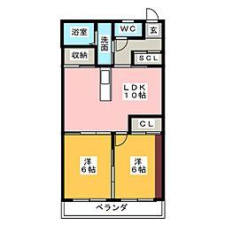 松栄ハイツ[2階]の間取り