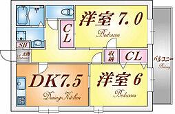 兵庫県神戸市長田区上池田4丁目の賃貸アパートの間取り