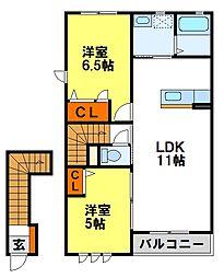 シャーメゾン御所ノ内[203号室]の間取り