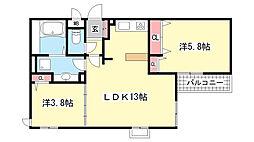兵庫県神戸市灘区灘北通4丁目の賃貸アパートの間取り