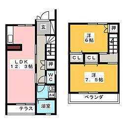 [テラスハウス] 岐阜県羽島市上中町長間 の賃貸【/】の間取り