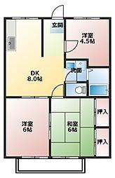 埼玉県春日部市大沼1丁目の賃貸アパートの間取り