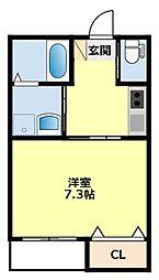 愛知環状鉄道 三河豊田駅 徒歩3分の賃貸アパート 1階1Kの間取り