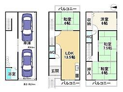 Osaka Metro四つ橋線 岸里駅 徒歩9分 4LDKの間取り