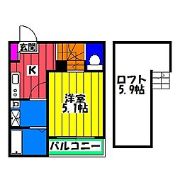 福岡県福岡市南区井尻3の賃貸アパートの間取り