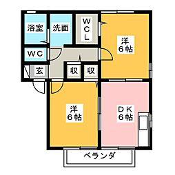 ニューポワールA[2階]の間取り