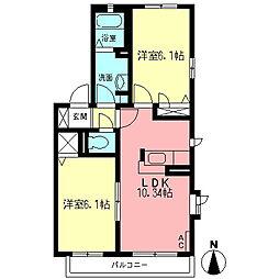 オードリーA[2階]の間取り