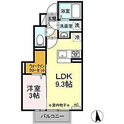 仮)D-room新井田西2丁目 1階1LDKの間取り