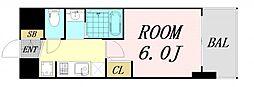 エステムコート難波サウスプレイス6ラグジー 4階1Kの間取り