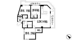 兵庫県宝塚市梅野町の賃貸マンションの間取り