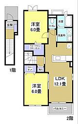 静岡県袋井市久能の賃貸アパートの間取り