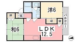 メゾン堀川 A棟[202号室]の間取り