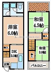 [テラスハウス] 大阪府東大阪市中小阪4丁目 の賃貸【/】の間取り