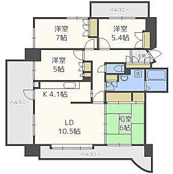 アンボワーズ西新[5階]の間取り