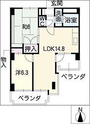 ロイヤルコート光[2階]の間取り