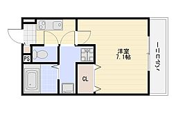H-Maison加美正覚寺2(アッシュメゾン加美正覚寺2) 2階1Kの間取り