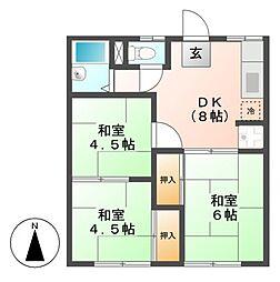 愛知県名古屋市中川区中島新町4の賃貸アパートの間取り
