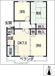 ハイツ鷹ノ羽B棟[3階]の間取り
