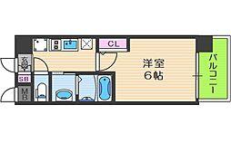 エステムコート中之島GATEII 10階1Kの間取り
