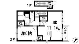 兵庫県宝塚市山本丸橋3丁目の賃貸アパートの間取り
