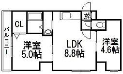 北海道札幌市中央区南八条西14丁目の賃貸マンションの間取り