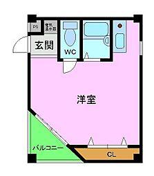 フェローズ21 3階ワンルームの間取り