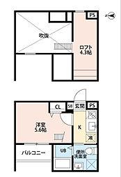 愛知県名古屋市中川区高畑3丁目の賃貸アパートの間取り