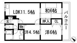 兵庫県伊丹市瑞原1丁目の賃貸マンションの間取り