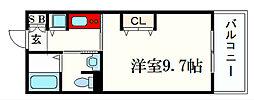 JR東海道・山陽本線 甲南山手駅 徒歩3分の賃貸マンション 2階1Kの間取り