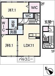 仮)D−room南若松[2階]の間取り
