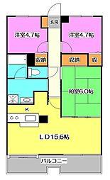 東京都東久留米市金山町2丁目の賃貸マンションの間取り