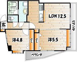 福岡県北九州市小倉南区富士見2丁目の賃貸マンションの間取り