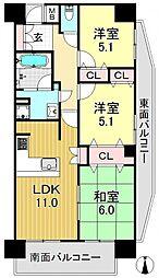 カルム平野[4階]の間取り