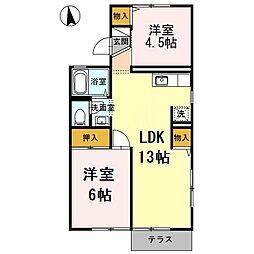 クオーレ中屋敷2[2階]の間取り