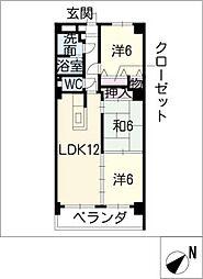 ハートウッド勝川[3階]の間取り