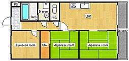 野崎スカイハイツ[3階]の間取り